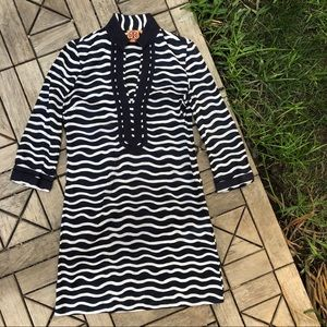 Tory Burch Striped Swimsuit Cover-Up Size 6